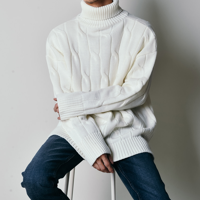 21609T CABLE TURTLE KNIT*